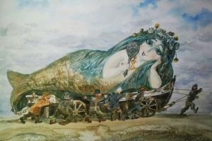 Dailininko V. Bogatyriovo meno darbuose atgyja arlekinai, batuotas katinas ir fėjos